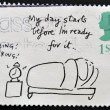 Stamp printed in Great Britain shows 'My day starts before I'm ready for it' (Mel Calman) — Stock Photo #12429460