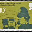 A stamp printed in Great Britain dedicated to Centenary of first telephone call by Alexander Graham Bell — Stock Photo