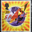 A stamp printed in Great Britain shows Illustration for the first men in the moon by H. G. Wells, Science Fiction Writer — Stock Photo