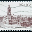A stamp printed in South Africa shows image of City Hall building in Pietermaritzburg — Stock Photo