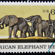 A Stamp printed in USA shows the African Elephant Herd — Stock Photo