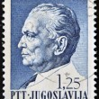 Stamp printedin Yugoslavia, shows portrait of Marshal Josip Broz Tito — Stock Photo #12429615
