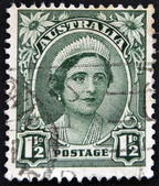 AUSTRALIA - CIRCA 1942: A stamp printed in Australia shows image of Elizabeth Bowes-Lyon was the Queen consort of King George VI, circa 1942. — Stock Photo
