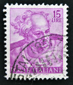 Stamp printed in Italy, shows designs of Michelangelo's Sistine Chapel, Joel — Stock Photo