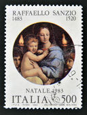 "A stamp printed in Italy shows ""Madonna of the Candles"" by Raphael — Stock Photo"