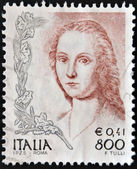 "A stamp printed in Italy, shows a fragment of painting ""Portrait of Young Woman with Unicorn"" by Raphael — Stok fotoğraf"