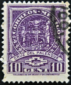 A stamp printed in Mexico shows Palenque Cross — Stock Photo