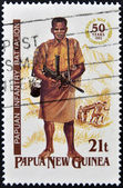 A stamp printed in Papua shows papuan infantry battalion — Stock Photo