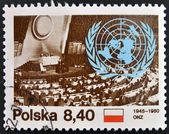 A stamp printed in Poland showing nature protection conference, United Nations — Foto Stock