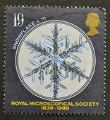Eine briefmarke gedruckt in großbritannien zeigt, die schneeflocke, royal microscopical society — Stockfoto