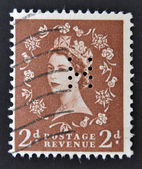 A stamp printed in Great Britain shows Queen Elisabeth — Stock Photo