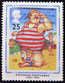 A stamp printed in Great Britain dedicated to Centenary of Picture Postcards, shows 'Where's my Little Lad?' — Stock Photo