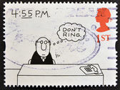 A stamp printed in Great Britain shows '4:55 P.M.' (Charles Barsotti) — Stock Photo