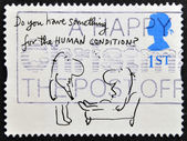 A stamp printed in Great Britain shows 'Do you have something for the HUMAN CONDITION' (Mel Calman) — Stock Photo