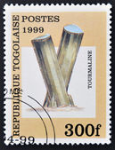 A stamp printed in Togo shows Tourmaline — Stock Photo