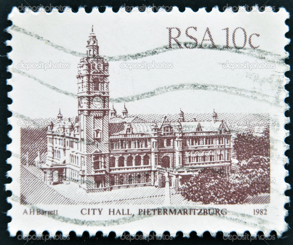 REPUBLIC OF SOUTH AFRICA - CIRCA 1982: A stamp printed in South Africa shows image of City Hall building in Pietermaritzburg, circa 1982  — Stock Photo #12429502