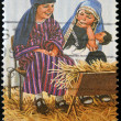A stamp printed in Australia shows children play as the Holy Family — Stock Photo