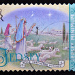 A christmas stamp printed in Jersey shows while shepherds watched — Stock Photo