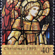 A stamp printed in New Zealand, is dedicated to Christmas, Stained glass windows, shows Archangel Gabriel - Foto Stock