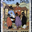 A stamp printed in Peru shows Peruvian Nativity - Foto Stock