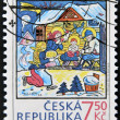 A stamp printed in Czech  Republic dedicated to Christmas shows nativity - Foto Stock