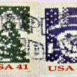 A stamp printed in USA shows Knit Christmas Tree and knit snowman — Stock Photo
