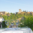 Stock Photo: Table overlooking Alhambra