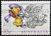 A stamp printed in Australia shows Christmas Angel — Stock Photo