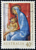 Stamp printed in Australia shows The Adoration of the Magi (detail) by Toscani — Foto Stock