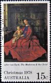 A stamp printed in Australia shows Virgin and Child, after Van Eyck — Stok fotoğraf