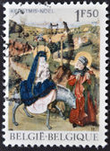 Stamp printed in tBelgium shows the biblical scene of Jesus Flight into Egypt — Stock Photo