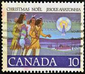 邮票印在加拿大,之后显示猎人 — 图库照片