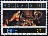 A stamp printed in ireland shows nativity — Stock Photo
