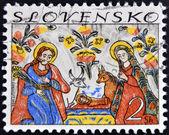 Známka vytištěna na Slovensku ukazuje obraz narození Páně — Stock fotografie