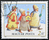 Stamp printed in Hungary shows Youth Caroling — Stock Photo