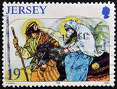A stamp printed in Jersey shows escape to Egypt — Stock Photo