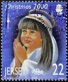 圣诞邮票印在泽西显示女孩祈祷 — 图库照片