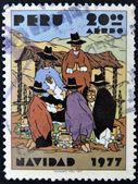 A stamp printed in Peru shows Peruvian Nativity — Stock Photo