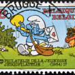 Stockfoto: Stamp printed in Belgium dedicated to Smurfs