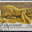 A stamp printed in Bulgaria shows English lop-eared rabbit - Stock Photo