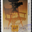 A stamp printed in Chile shows poster commemorating 100 years of cinema — Stock Photo