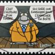 Stamp printed in France shows Cat designed by Geluck as comedian — Stock Photo #12756245