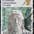 A stamp printed in Great Britain shows Benjamin Franklin — Stock Photo