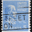 A stamp printed in USA shows James Monroe, 5th President of USA — Stock Photo