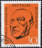 A stamp printed in German Federal Republic show Chancellor Konrad Adenauer — Stock Photo