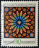 Stamp printed in Germany shows Rose Window, Freiburg Cathedral — Stock Photo