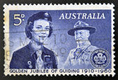 Stamp printed in Australia devoted to golden jubilee of guiding — Stock Photo
