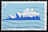 Stamp printed in Australia shows Opera House, Sydney — Stock Photo