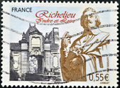 A stamp printed in France shows Richelieu, Indre-et-Loire — Stock Photo