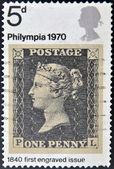 A stamp printed in Great Britain dedicated to Penny Black — Stock Photo